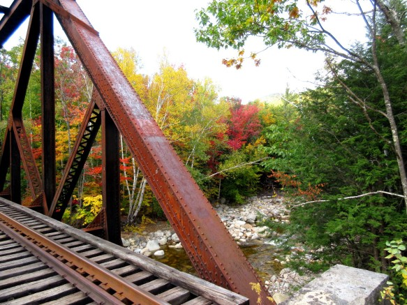 foliage and a bridge near White Mountains New Hampshire travel