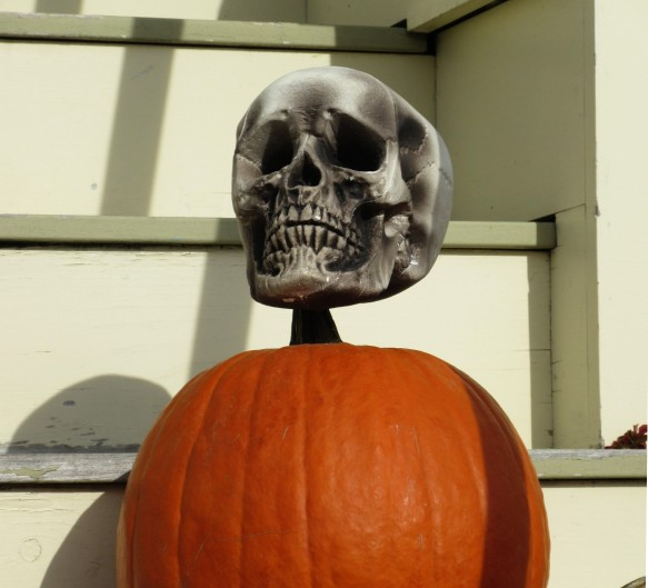 Halloween decoration skull on a pumpkin Somerville near Boston Massachusetts