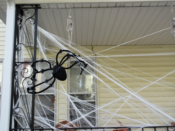 Halloween decoration spider and spiderweb in Somerville near Boston Massachusetts