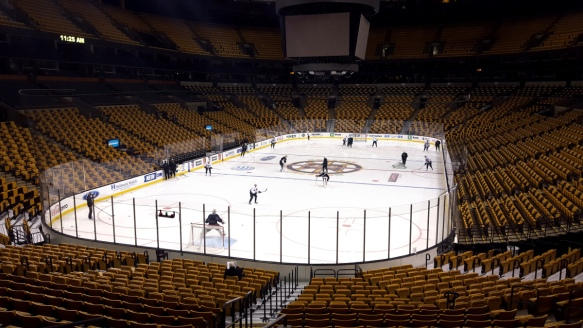 Minnesota Wild rehearse at TD Garden in Boston before a game agaist Boston Bruins
