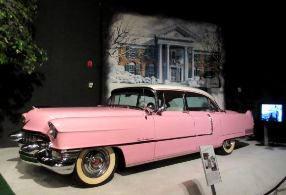 Elvis pink Cadillac in Graceland car museum Memphis Tennessee